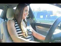 Sabrina ia masturbating to relieve stress after being in a traffic jam