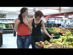 Rita with her friend buys some bananas and then use it as a dildo