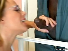 Busty MILF in Glasses Sunny Say Pleasing a Black Cock with All Her Goods