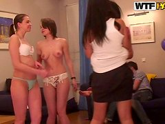 Horny Teenie Tramps Have A Big Birthday Orgy