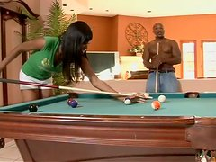 Ebony Beauty Cocoa Shanelle Swaps a Cue for a Cock