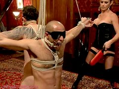 Dominating Babes fuck their slaved men in their asses with pain and humiliation