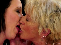 Brunette Girl and Blonde Granny Sharing a Vibrating Sex Toy