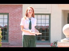 Lacie shows her tempting pussy while readinga book in school uniform