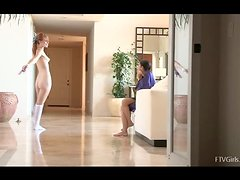 Naked Tamara teaches Lacie to dance in the hall and then they make out