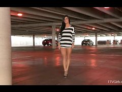 Brunette Marletta play with her pussy at the parking