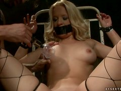 Cradle of Pain and Rough Fucking for Naughty Blonde slut in BDSM Vid