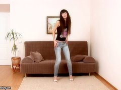 Marvelous Marya is alone in her living room pussy playing