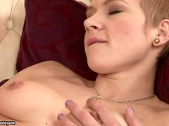 Short-Haired Teen Chicky Clarissa Caught Masturbating by an Old Cock