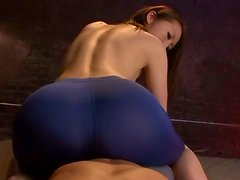 Tights wearing mature whore rides a man's rod