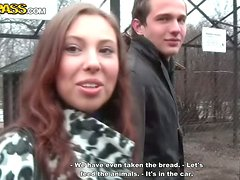 Visit to the park and hot sex for amateur couple