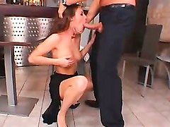 Judith Fox recieves a hot load of jizz on her juicy mouth