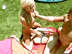 Kenzi Marie and her friend recieves a warm jizz on their mouths