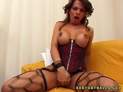 Tranny in Corset and Fishnet Stockings Fucking a Babe's Tight Shaved Cunt