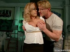 Throat and Pussy Fucking for Busty Blonde Jessica Moore in BDSM Clip