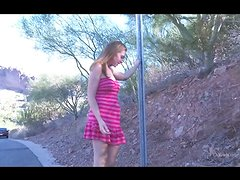 Hot teen Karly loves taking off pink cloths outside