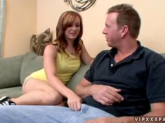 Redhead Dani Jensen gets facialed and fucked hard