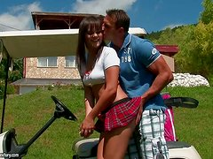 Awesome Hardcore Outdoors Fucking for Brunette Babe on Golf Cart