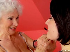 Ageless Lesbian Love with Granny and Brunette Babe