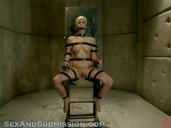 A blonde gets tied up and roughly fucked by a wicked guy!