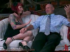 Redhead loves anal so she's tied up & has her ass dominated