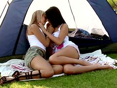 A Pair Of Naughty Campers Having Some Lesbian Fun