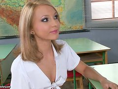 The teacher's pet gets her lovely holes filled