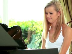 Blonde Fingers Herself While Waiting For Her Piano Lesson