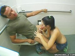 Frisky Couple Get It On In A Mall Toilet