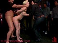 BDSM Abuse For A Blonde Who Gets Fucked By Several Guys