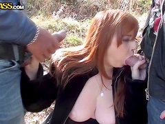Huge Tit Amateur Whore Outdoor Double Blowjob