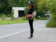 Naughty Police Woman Gives Amazing Blowjob On POV Cam