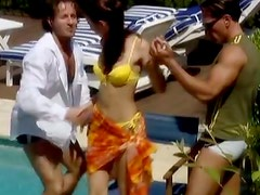 Randy Brunette Babe Takes Two Schlongs By The Pool