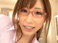 Pretty Asian Chick In Eyeglasses Teasing And Sucking A Hard Cock