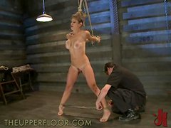 Sexy Redhead Hogtied With Tit Torture!