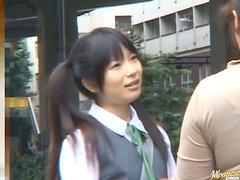 Japanese Schoolgirl On Bus In Swimsuit Gets A Rough Rear Fucking