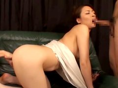 Horny Hairy Asian Slut Double Blowjob Threesome!