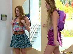 Horny and Slutty Teens Jessie Andrews and Lexi Belle Sharing a Big Cock