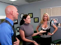 Office sex with stockings coworker