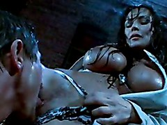 Busty hot whore Lisa Ann plugs a meaty cock in her saultry sweet mouth