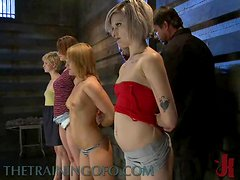 Four Hot Gilrs Are Buck Naked And Punished In Hot Bondage Scene