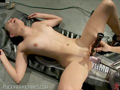 Young Brunette Nerd Is Pummeled By Fucking Machine