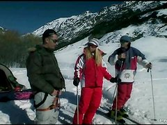 Double Penetration On The Snow For The Horny Blonde Diana Gold