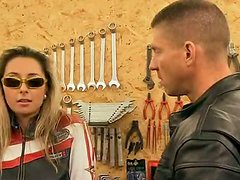 Blonde Biker Chick Daria Glower Sucks and Fucks a Big Cock