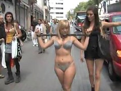Blonde in Bikini Gets Tied Up To a Shaft and Disgraced in Public