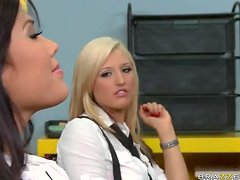Lucky Teacher Having a Threesome with Two Stunning School Girls