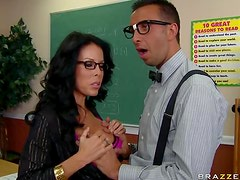 Lustful Teacher in Stockings and Glasses Banged By a Big Cock