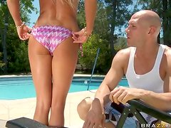 Horny Blonde MILF Trying Out The Pool Guy's Cock