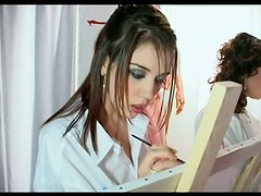 Two Naughty Painters In Hot Threesome Video