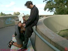 Hardcore Sex In Public For a Tied up Submissive and Busty Babe